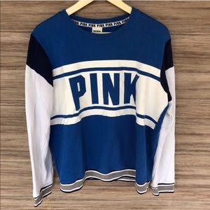 VS PINK blue varsity pullover sweatshirt